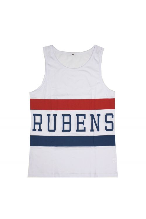 Blue/Red Stripe White Singlet by The Rubens