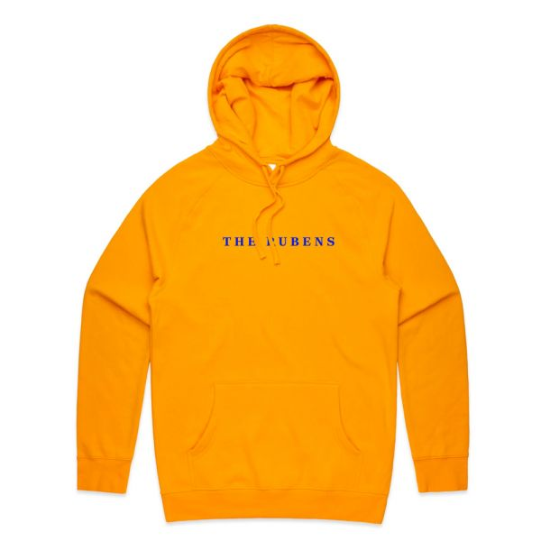 Gold hoodie w/ blue embroidery